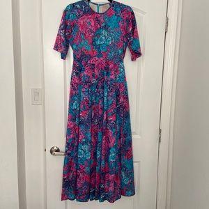 Vintage handmade floral evening dress, size M